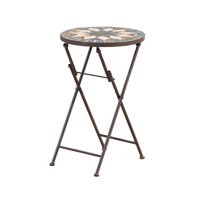 """22"""" Beige and Black Contemporary Outdoor Patio Round Foldable Side Accent Table"""