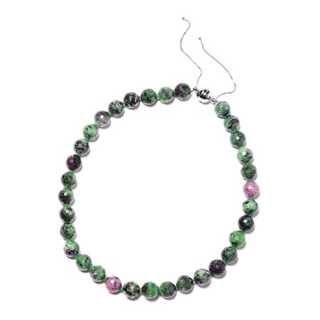 Ruby Zoisite Bead Strand Necklace Sterling Silver Size 18
