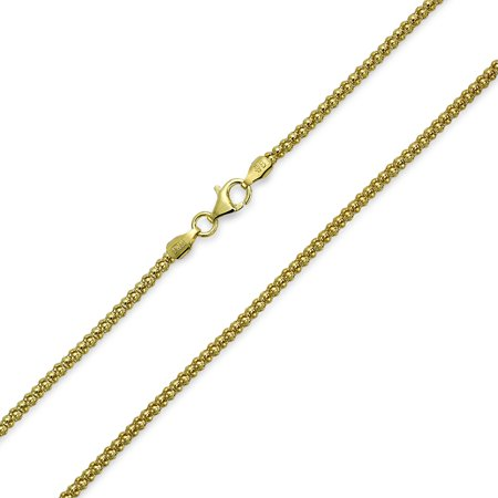 Bali Style Popcorn Coreana Chain Necklace Black Oxidized 14K Gold Plated Sterling Silver 030 Gauge Made In Italy 24 Inch - image 3 de 3