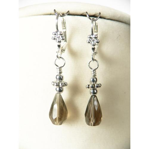Palmtree Gems Naomi' Smoky Quartz Earrings