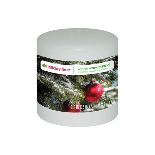 "Holiday Time 3"" Pillar Candle, Winter Wonderland"