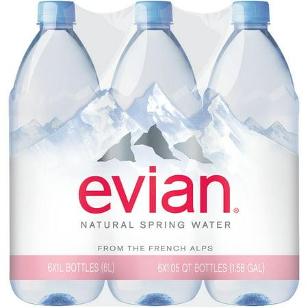 evian Natural Spring Water, 1 L bottles, 6 pack