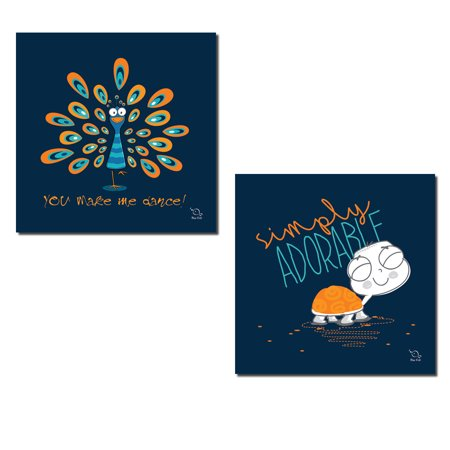 Lovely Turtle - 2 Lovely Navy Blue and Orange Turtle and Peacock Set; Perfect for a Child's Room or Nursery; Two12X12 Poster Prints