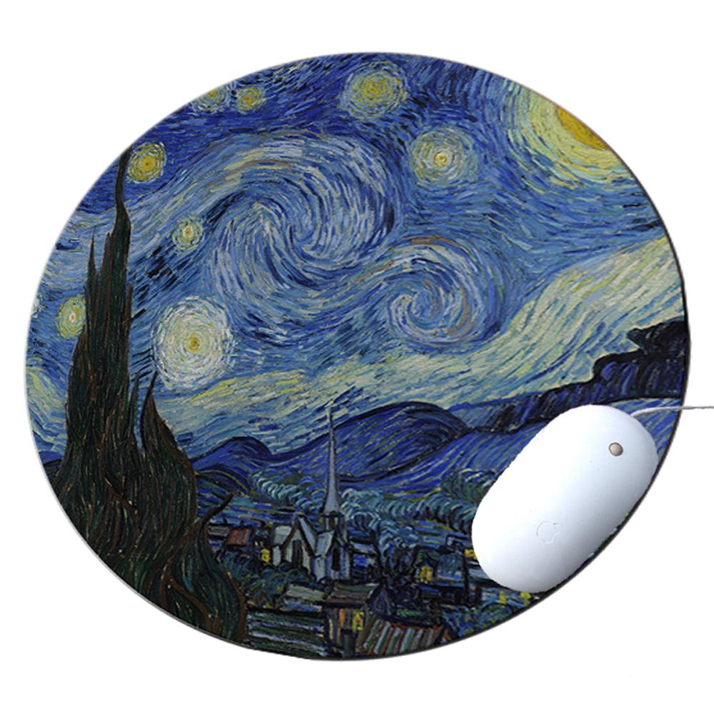KuzmarK Round Mousepad / Hot Pad / Trivet - Van Gogh Starry Night
