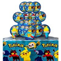 B-THERE Party Pack Bundle of Pokemon Party Supplies, Seats 16 - Napkins, Plates, Cups and Tablecloth - Deluxe Party Pack Supplies
