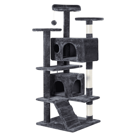 Yaheetech 51''H Cat Tree Condo Kitten Tree Tower w/2 Condos & Fur Ball & Scratching Posts, Multilevel Indoor Cat Tree Tower for Kittens (Cat Eye-sonnenbrille Für Rundes Gesicht)