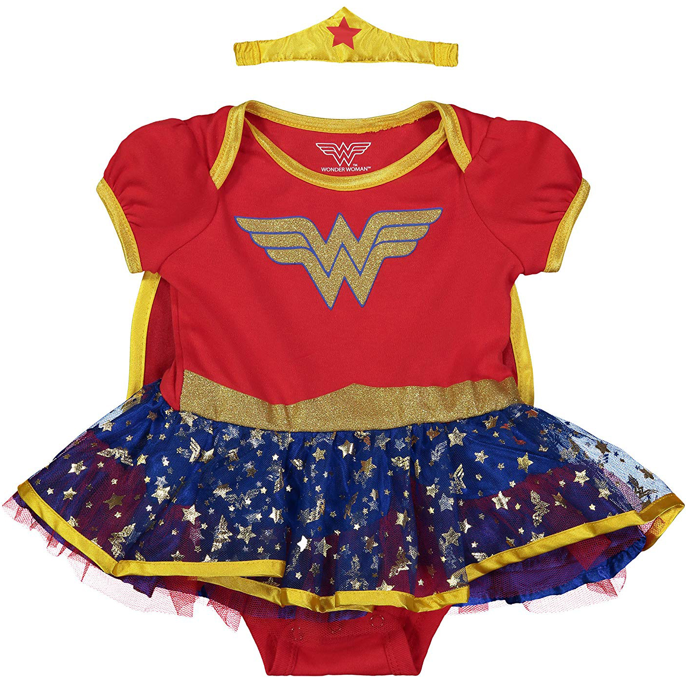 Wonder Woman Baby Girls' Costume Bodysuit Dress with Gold Tiara Headband & Cape (Gold, 0-3 Months)