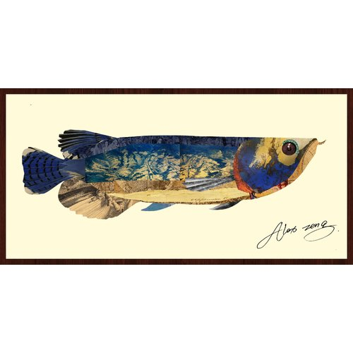 Empire Art Direct Arowana Fish Dimensional Collage Hand Signed by Alex Zeng Framed Graphic Art