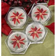Herrschners® Poinsettia Acrylic Coasters Stamped Embroidery Kit