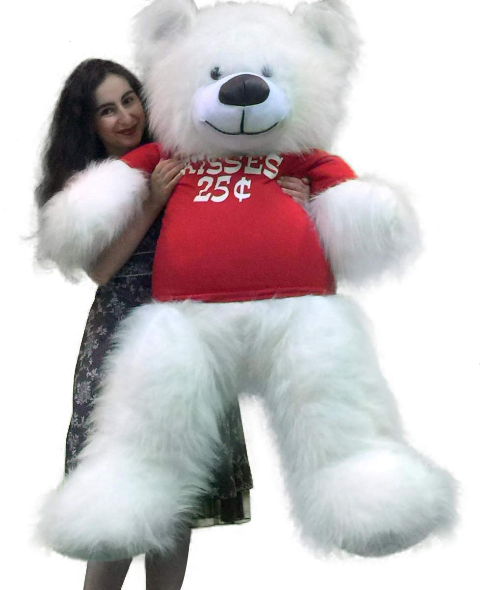 Valentine's Day Giant White Teddy Bear 55 inches Wears Tshirt KISSES 25 CENTS by Big Plush