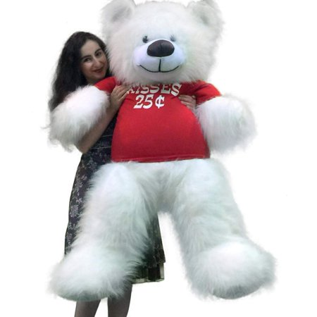 Valentine's Day Giant White Teddy Bear 55 inches Wears Tshirt KISSES 25 CENTS