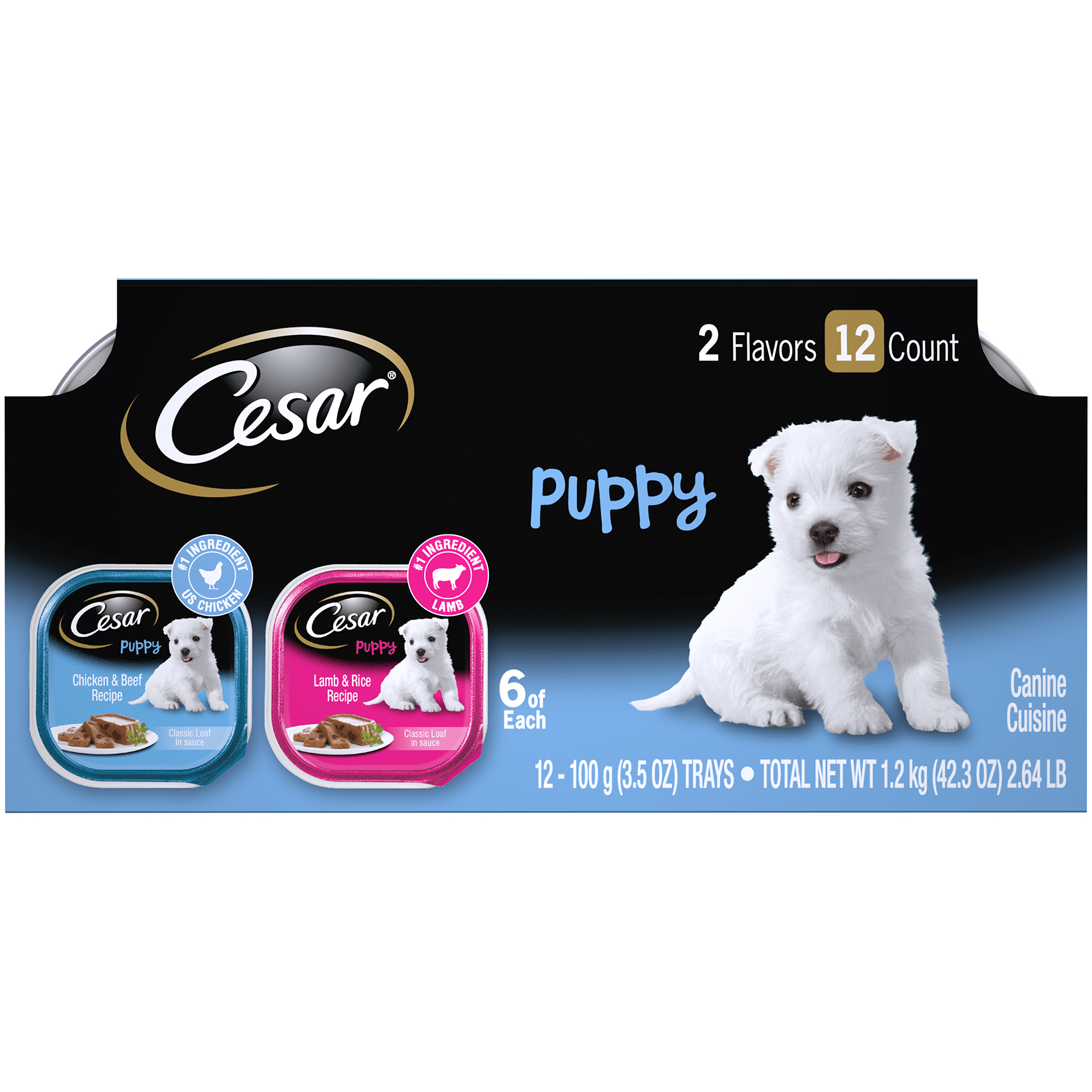 CESAR Wet Dog Food Puppy Chicken & Beef and Lamb & Rice Variety Pack, (12) 3.5 oz. Trays