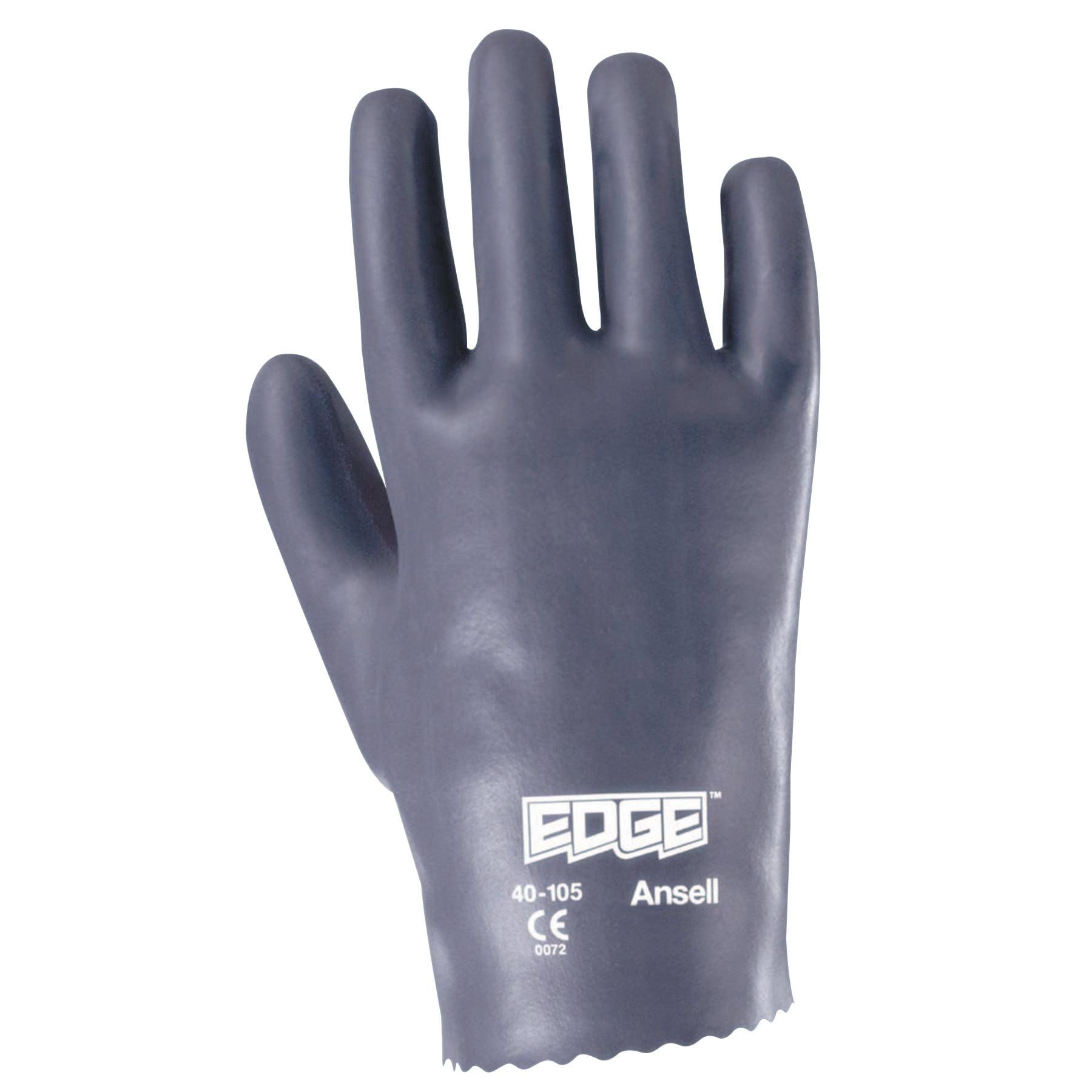 Ansell Edge Nitrile Gloves, Slip-On Cuff, Interlock Cotton, Size 9, Gray