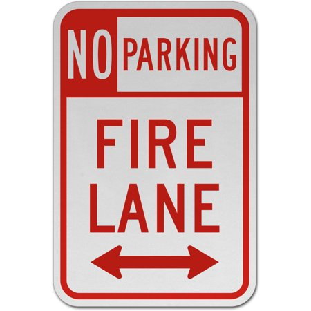 Traffic Signs - No Parking Fire Lane (Double Arrow) Sign Heavy Duty 10 x 7 Plastic Sign Street Weather Approved - Double Sided Arrow Sign