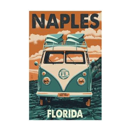 Naples, Florida - VW Van Print Wall Art By Lantern Press