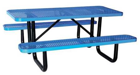 """4HUR5 72"""" W x62"""" D Picnic Table, Blue by VALUE BRAND"""