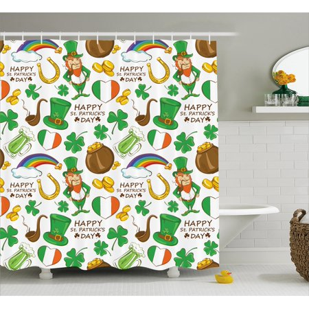 St. Patrick\'s Day Shower Curtain, Irish Party Pattern Beer ...