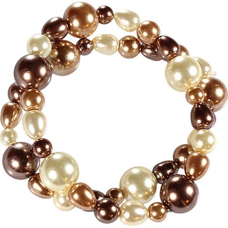 Two Row Natural Colored Round And Baroque Pearl Stretch Bracelet Set