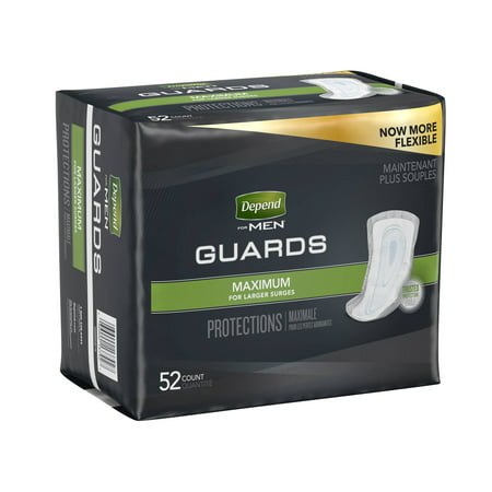 Depend Guards For Men Maximum Absorbency Pads, 52 Ct, 2 Pack