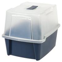 IRIS USA Large Hooded Cat Litter Box, Blue