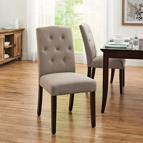 Better Homes and Gardens Parsons Tufted Dining Chair, Set of 2, Taupe