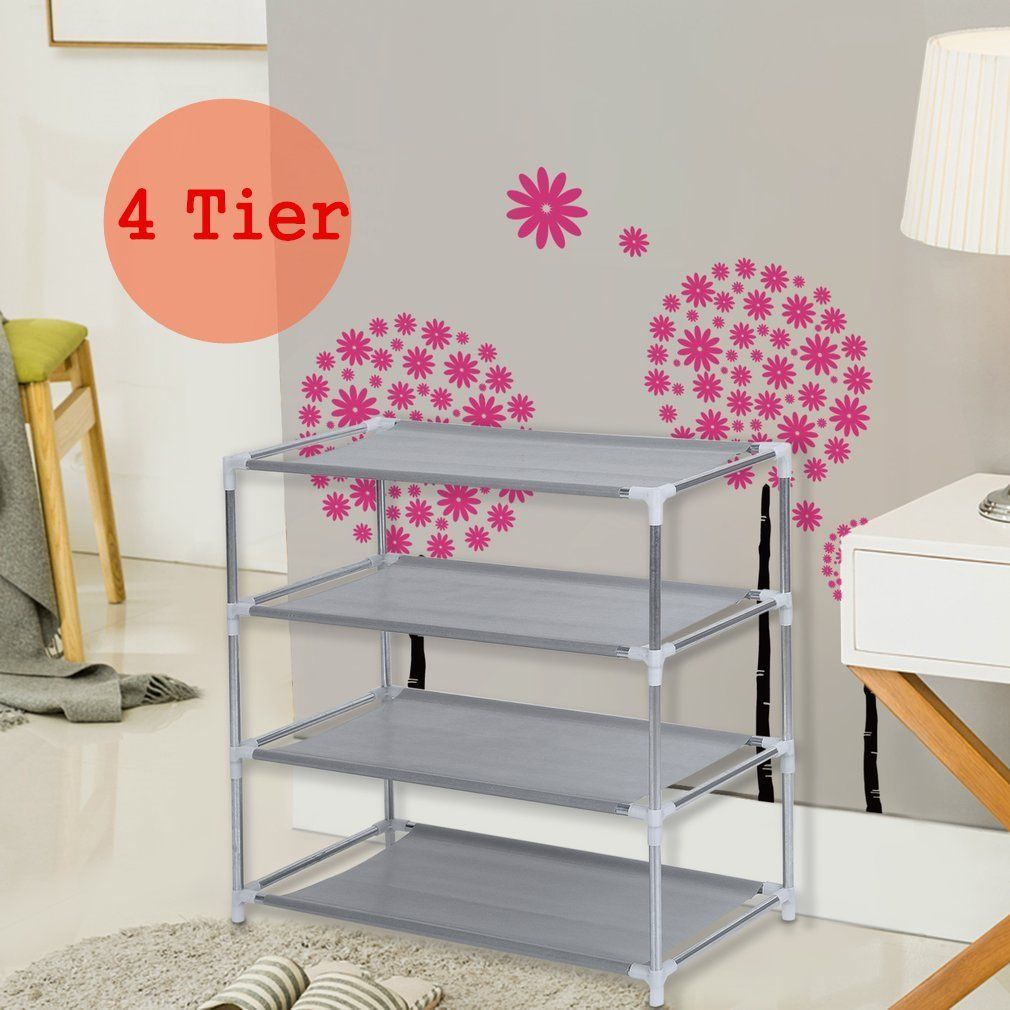 4-Tiers Metal Shoes Rack Stand Shoes Storage Organizer Fabric Shelf Holder Stackable Closet US