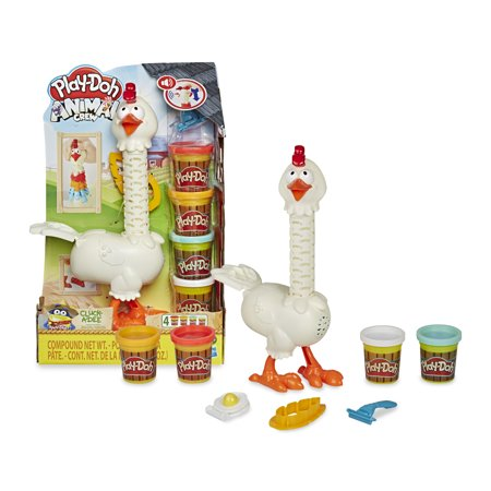 Play-Doh Animal Crew Cluck-a-Dee Feather Fun Farm, 4 Cans of Dough