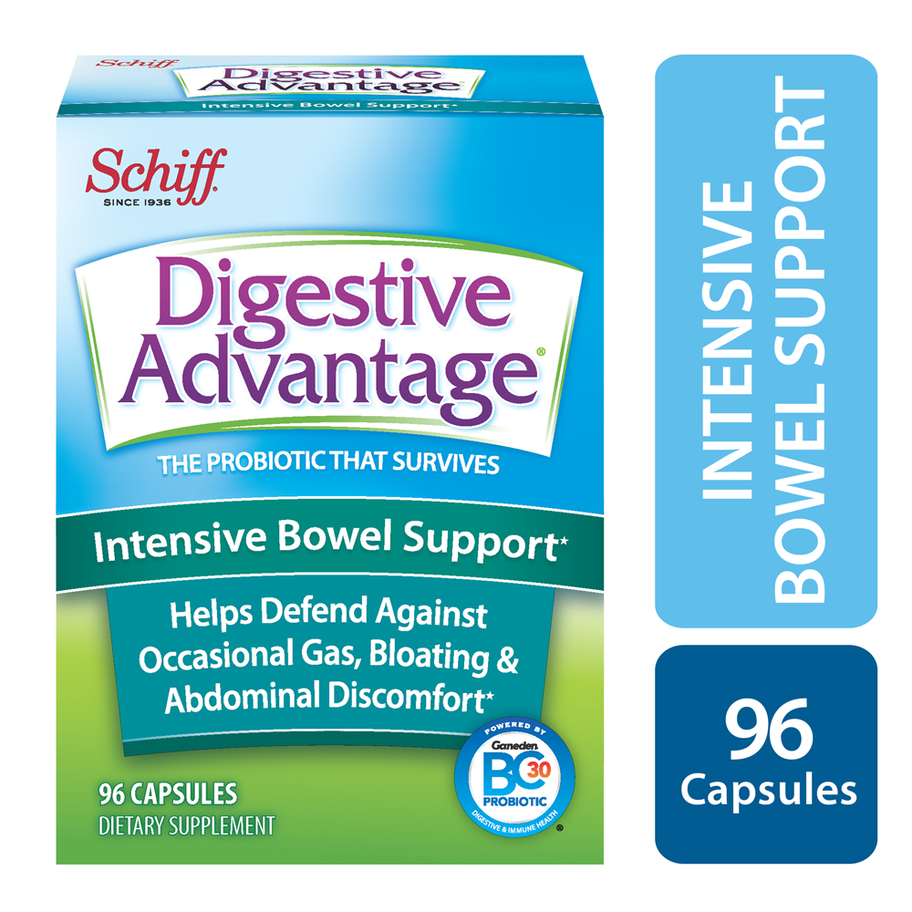 Digestive Advantage Intensive Bowel Support, Probiotic Digestive Enzyme Supplement, 96 Capsules