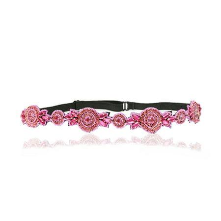 Hot Pink Rhinestone Diamond Adjustable Headband Elastic Vintage Bohemian Gatsby LAC Beauty