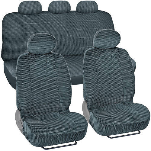 BDK Scottsdale Checkered Cloth Car Seat Covers, 9pc, Front and Rear Full Set, Low Back