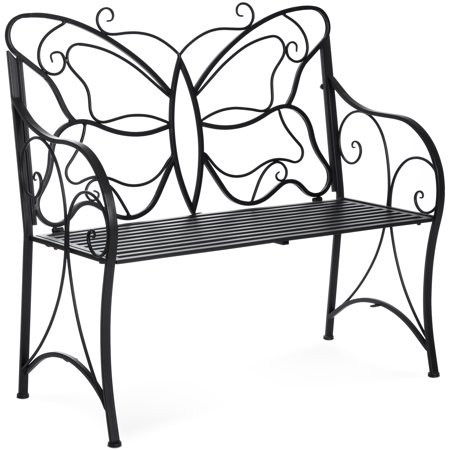 Best Choice Products 40in 2-Person Decorative Metal Iron Patio Garden Bench Outdoor Furniture for Front Porch, Backyard, Balcony, Deck w/ Elegant Butterfly Design, Curved Armrests - Black