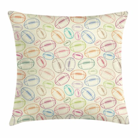 American Football Throw Pillow Cushion Cover, Grunge Looking Hand Drawn Style Sports Sketch with Colorful Retro Balls, Decorative Square Accent Pillow Case, 20 X 20 Inches, Multicolor, by Ambesonne