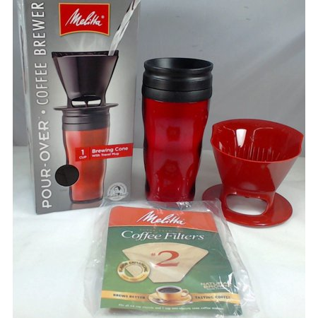64014, Melitta 1 Cup Coffee Brewer with Red Travel