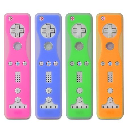 Fosmon 4 Pack Two-Tone Silicone Skin Case for Nintendo Wii Remote and Nunchuk (Nunchaku) - Blue, Green, Orange, Pink (Wii Silicone Remote Control)
