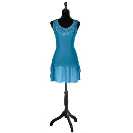 Blue Colored Large Womens Layered Dress With Waist Tie - By Ganz