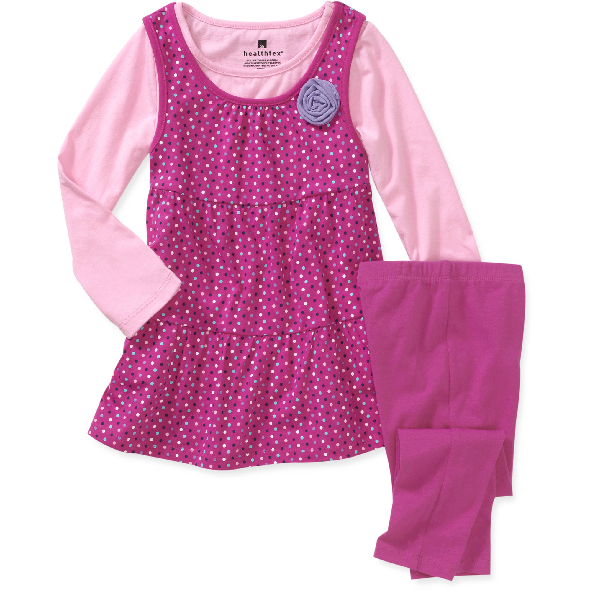 Healthtex Baby Girls' 3-Piece Dot Jumper, Tee and Legging Set