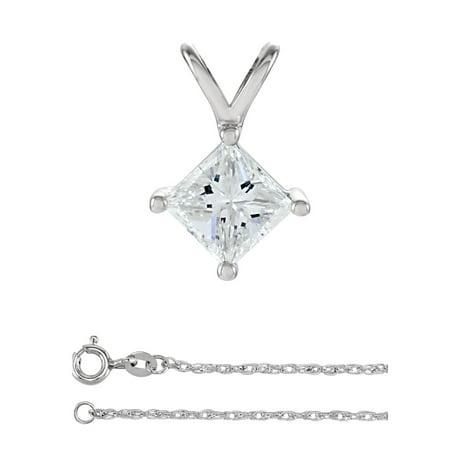 Princess Diamond Solitaire Pendant Necklace 14K White Gold ( 1.01 Ct, I, VS1 GIA Certified)