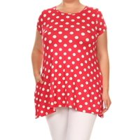 Women's Trendy Style Plus Size Short Sleeves Printed Knit Tunic Top