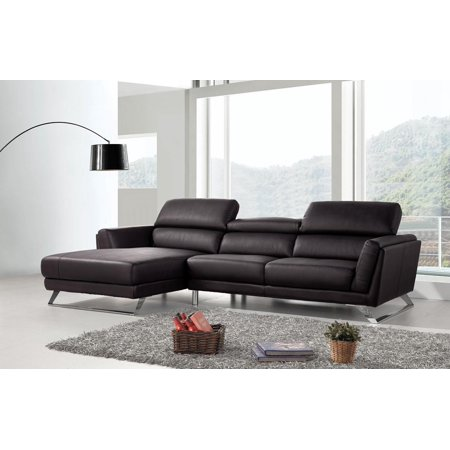 VIG Divani Casa Doss Modern Black Eco-Leather Sectional Sofa Left Facing  Chaise
