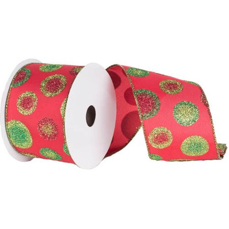 """Vickerman 4"""" Red-Green Dots Christmas Ribbon"""