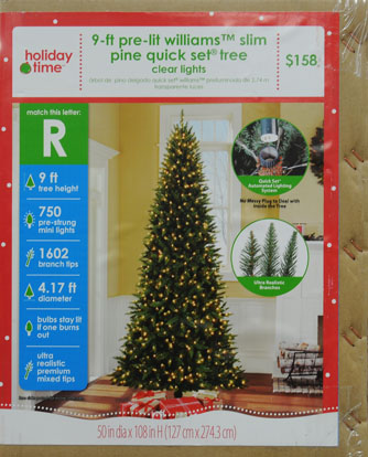 Holiday Time 9ft Williams Slim Pe/pvc Quick Set Tree - Walmart.com