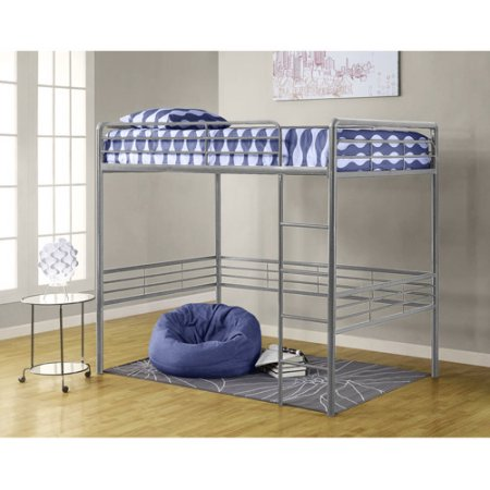 "Full Metal Loft Bed, Silver with Spa Sensations 6"" Memory Foam Comfort Mattress"