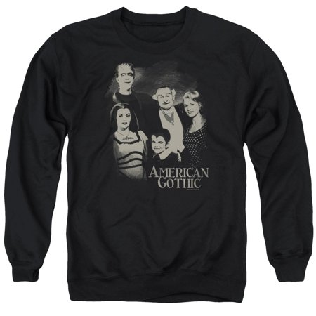 Gothic Adult Sweatshirt - The Munsters Monster Sitcom TV Show American Gothic Adult Crewneck Sweatshirt