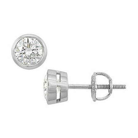c6150f0d4 14K White Gold Bezel Set Round Diamond Stud Earrings 1.00 CT. TW ...