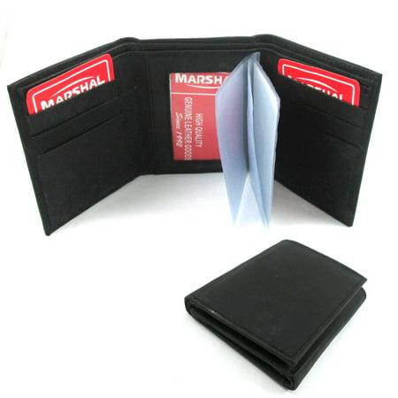 RFID Blocking Trifold Genuine Leather Wallet Pocket Credit Card ID Window (Credit Card Tri Fold)