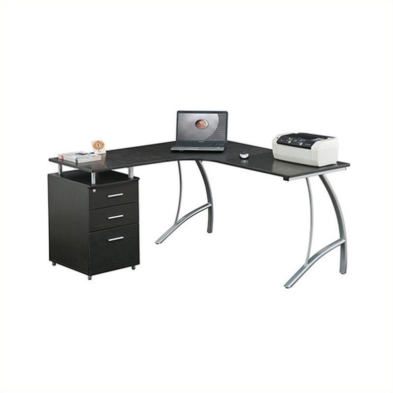 Techni Mobili Modern L- Shaped Computer Desk with File Cabinet and Storage, Espresso (RTA-4804L)