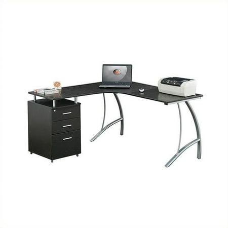 Techni Mobili Modern L Shaped Computer Desk With File Cabinet And Storage Espresso Rta 4804l