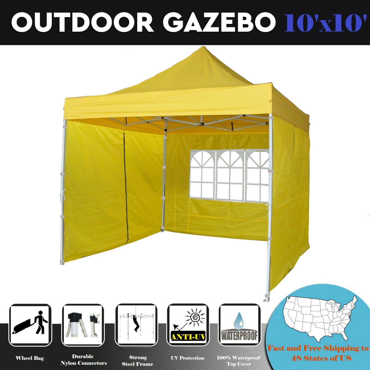 10'x10' Pop Up 4 Wall Party Tent Canopy Gazebo Ez Emerald - F Model Upgraded Frame By DELTA Canopies
