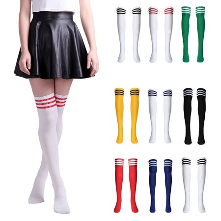 Men Women's Sport football Soccer Stripe Long Socks Over Knee High Sock (Soccer Striped Sport Socks)