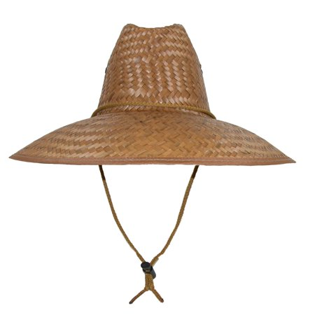 CTM® Palm Straw Lifeguard Hat with Wide Brim